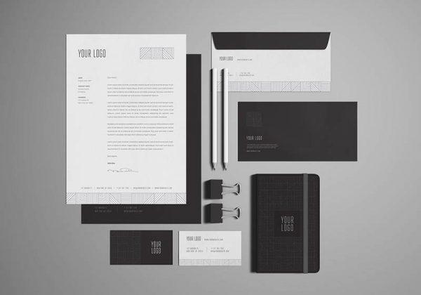4photoshopir-business-set-mockup-pic1-ست اداری سیاه و سفید
